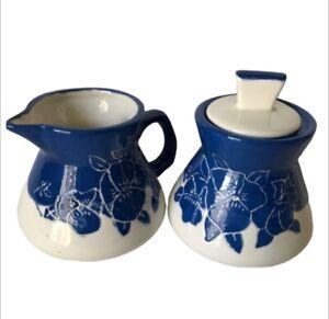 Creamer & Sugar Set Handmade Pottery Glazed Majolica Mexico White & Blue Floral