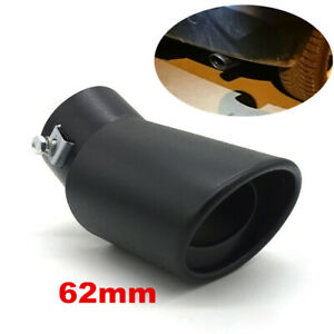 62mm Black Stainless Steel Car Rear Exhaust Pipe Tip Muffler Cover Tail Throat