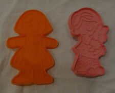 2 GIRL Hallmark Cookie Cutters VINTAGE Plastic 1970s Pink Orange Bunny Doll Kid