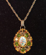 CAPTIVATING Rhinestone Layered Necklace w/Foil Art Glass Stone! #253  WOW!