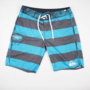 Quiksilver Blue Black Striped Lace Tie Size 32 Swim Surf Board Shorts