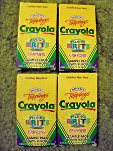1999  FOUR SIX PACK CRAYOLA CRAYONS TECHNO BRITE RARE  SAMPLE PACKS  - NM