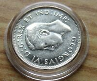Strong AU type 1947 Canada Maple Leaf Variety, Silver 10 Cent Piece w Holder.