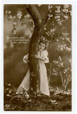 c 1912 Little Girl PEEK-A-BOO Game Hide and Seek child children photo postcard