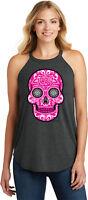 Buy Cool Shirts Ladies Halloween Tank Top Pink Sugar Skull Tri Rocker Tanktop