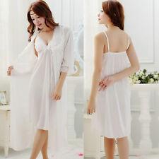 Damen Schlafanzug langer Kleid Unterwäsche Morgenmantel Pyjama aus Nachtwäsche
