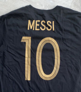 Nike FC Barcelona Messi Soccer Cotton Black T-Shirt Men's Size Small DC3310-010