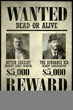 Wanted Butch Cassidy The Sundance Kid Art Print Mural inch Poster 36x54 inch