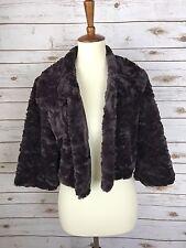 METAPHOR Faux Fur Crop Coat Jacket Cardigan Medium Purple 3/4 Sleeve Top D18