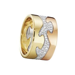 Georg Jensen. Fusion 3-piece Ring - 18k. Yellow, Rose & White Gold Pavé Diamonds
