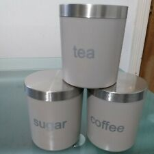 set of 3 tea sugar coffee with air tight stainless steel lids kitchen  jars pots
