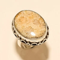 Natural Indonesian Fossil Coral Ring 925 Sterling Silver Handmade Easter Jewelry