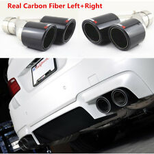 Left+Right Real Carbon Fiber Car Exhaust Dual Pipe 63mm In-89mm Out Muffler Tip