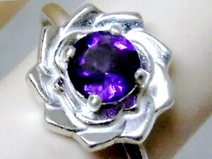 NATURAL PURPLE AMETHYST RING 925 STERLING SILVER FLOWER 1CT USA MADE SIZE 8