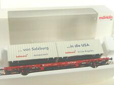 DB Cargo Tragwagen m. Hellmann Cont. - Märklin  HO Wagen  47700   #E - gebr
