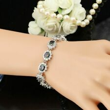 "Shiny Rainbow Mystic Topaz Oval Crystal Bracelet 925 Sterling Silver 7+1"" Gift"