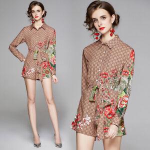 Summer 2pcs Women Sets Runway Vintage Print Top Shirt Blouse Short Suits Outfits