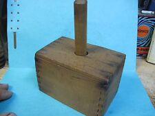 PRIMITIVE ANTIQUE WOODEN BUTTER PRESS MOLD NATURAL WOOD DOVE TAIL ORIGINAL
