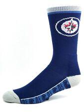 Winnipeg Jets Adult Deuce Repeat Bottom Crew Socks Blue Gray Heel and Toe