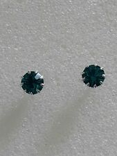 Gorgeous 5mm Stud Earrings using Swarovski Blue Zircon. Made in UK.