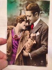 Antique Colorized French Fantasy Postcard Couple Fur Coat
