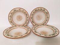 Four (4) FITZ & FLOYD Le Canard Large Rimmed Soup Bowls Pasta Bowl Raised Leaf