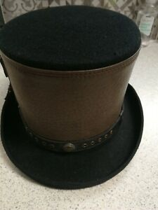 Steampunk Victorian Top Hat with Leather Strapped Goth size large