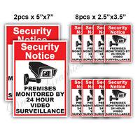 10x CCTV Video Surveillance Security Camera Alarm Video Sticker Warning Decal 01