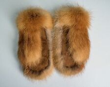 Genuine Red Fox Fur/Suede Leather Women's Men's Unisex Warm Winter Mittens