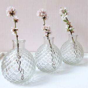 Gisela Graham Bud Vases ~  Set Of 3 Clear ~ Glass Faceted Mini Ball
