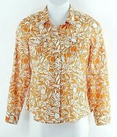 Liz Claiborne Sz XL Orange White Floral 100% Cotton Tab Sleeve Textured Top I213