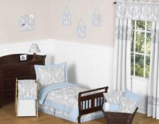Sweet Jojo Designs Blue & Gray Damask Girl Boy Toddler Cotton Sheet Bedding Set