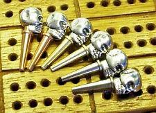 6-TIBETAN SILVER Metal Skull-Top Quality Cribbage Board Pegs & Velvet Pouch b