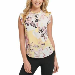 DKNY NEW Women's Floral Print Ruffled Blouse Shirt Top TEDO