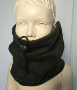 Kids BLACK SNOOD neck warmer face mask scarf hat boys School Uniform fleece tube