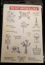 Gina K Stamp Set SENT WITH LOVE New Rubber Stamps