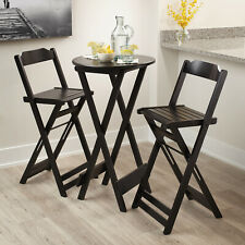 Outdoor Black Folding Bar Stools 2 PCS Bar Stools Pub Seats