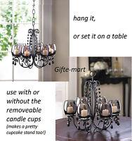 5 BLACK crystal chandelier CANDELABRA Candle holder wedding table centerpiece