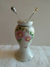Vintage Hat Pin Holder Pink Flowers Made in Japan w/ 2 hat pins