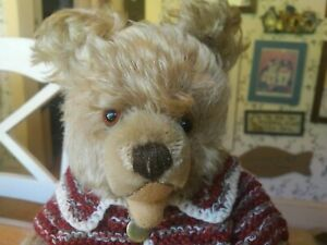 Antique Vintage 1960S mohair Steiff Zotty Bear with sweater EAN 6335,01 14in GUC