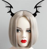 Women Girls Halloween Black Bat Ear Witch Costume Party Hair Band headband Prop