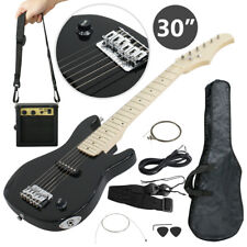 "Electric Guitar Kids 30"" Black Guitar With Amp + Case + Strap and More New"