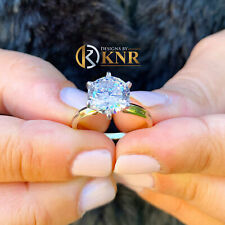 14K YELLOW GOLD ROUND FOREVER ONE MOISSANITE ENGAGEMENT RING SOLITAIRE 2.00