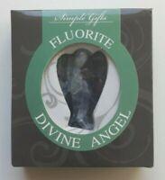 STATUETTE ANGE EN PIERRE FLUORINE - figurine dans boite cadeau - fluorite maât