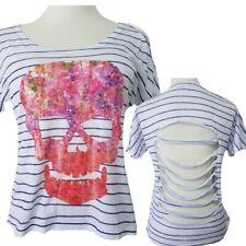Delias Sugar Skull T Shirt Top Sz M Slash Back Day of the Dead Los Muertos