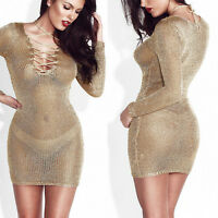 Women Party See Through Lace-up Bodycon V Neck Slim Long Sleeve Mini Club Dress