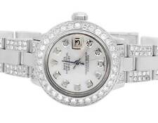 Ladies Rolex Datejust Oyster Stainless Steel 26MM Silver Diamond Watch 6.5 Ct