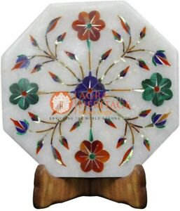 "6"" Marble Inlaid Wall Decor Tile Semi Precious Floral Art Christmas Eve Gifts"