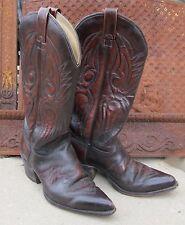 Vintage 1960's Chisholm Fancy Stitch Burgundy Cowboy Boots M 6.5 - W 7.5