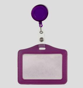 Hülle für Mitarbeiterausweis, Fahrkarte + 60cm ausziehbare Halter, Clip Lila